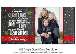 christmas card template joyful snow 4x8 single sided card