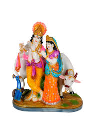 Home Decoratives Wonderful Radha Krishna Multicoloured Idol Home Decoratives