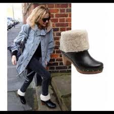 womens ugg lynnea boots 73 ugg boots ugg lynnea leather shearling wood heel clog