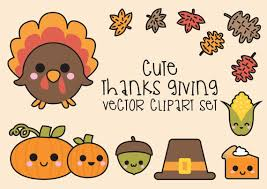 premium vector clipart kawaii thanksgiving