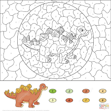 dinosaurs color by number coloring pages printable pictures
