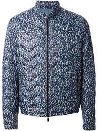 Blue Leopard Print Moncler Leopard Print Padded Jacket In Blue For Men Lyst