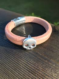 leather bracelet with skull charm images Bulky natural leather bangle with skull charm and magnetic clasp jpg