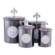 beige fleur de lis ceramic kitchen canisters set 3 by old dutch fleur de lis 4 piece kitchen canister set reviews wayfair