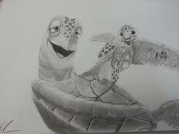 a pencil drawing of crush an from disney and pixar u0027s