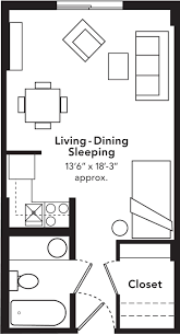 studio apartment layout studio blueprints studio apartments include a full size kitchen