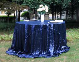 popular 120in round navy sequin tablecloth for wedding party