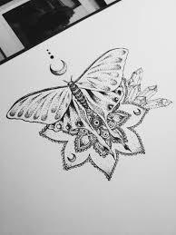 moth design mandala henna moon dotwork cluster