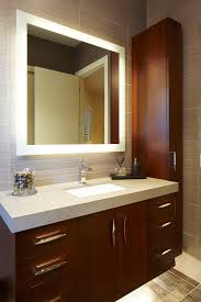 Lighted Mirror Bathroom Lighted Bathroom Mirror Bathroom Contemporary With Floating Vanity