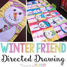 snowman directed drawing art activity