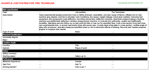 Tire Technician Job Description Resume Tire Technician Job Title Docs
