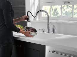 High Rise Kitchen Faucet by Delta Kate Single Handle Kitchen Faucet With Soap Dispenser