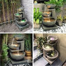 outdoor water features with lights kyoto three bowl cascade lit water feature garden fountain sign96
