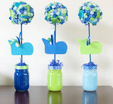 whale baby shower birthday party ribbon topiary centerpieces