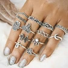 midi rings set 13pcs retro boho unisex elephant hamsa ring set midi finger
