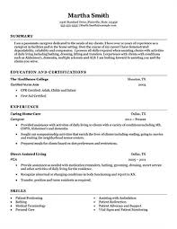 Resume Examples For Caregivers Caregiver Main Caregiver Resume Overview