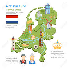 netherlands lighthouse map flat design netherlands travel guide infographics presenting