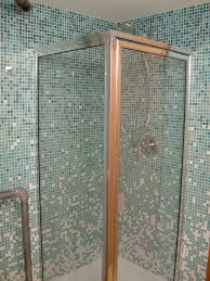 corner shower area design with green glass mosaic wall panel plus