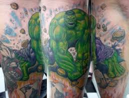green 3d hulk tattoo on biceps photos pictures and sketches