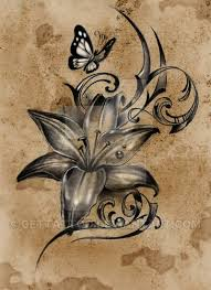 lovely lilly flower with butterfly design tattoos
