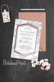 rose gold marble wedding invitation geode wedding suite