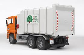 amazon com bruder toys man side loading garbage truck orange
