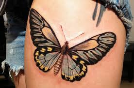 attractive butterfly on thigh