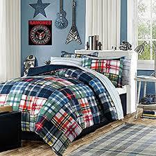 Plaid Bed Set Modern Bedding Boys Comforter Set Blue Green