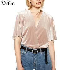 elastic waist blouse v neck low cut velvet shirt bodysuits half sleeve