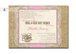 lace burlap baby shower invitation bring a book rose pink