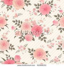 Shabby Chic Style Wallpaper by Seamless Floral Background Bouquets Roses Vintage Stock Vector