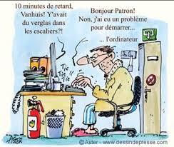 dessin humoristique travail bureau etre en retard quand on est en télétravail zevillage