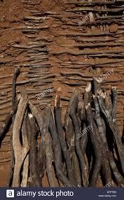 adobe wall capomas indian village el fuerte sinaloa mexico stock