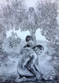 original pencil drawing adam and eve apple tree owl