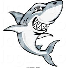 royalty free vector of a logo of a gray and white shark grinning