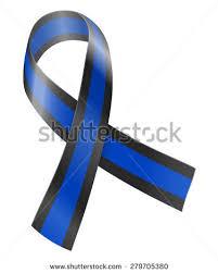 black and blue ribbon blue black ribbon concern survivors stock vector 279705380