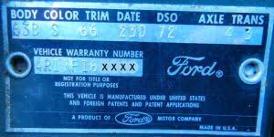 1963 ford body plate data