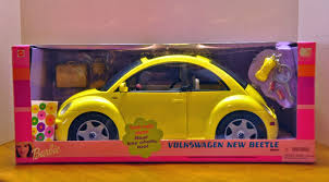 real barbie cars 2000 barbie yellow volkswagen beetle car nrfb barbie doll