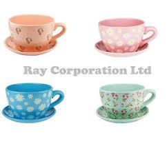 giant daisy blue design tea cup and saucer planter flower pot ebay