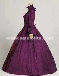Halloween Victorian Costumes 2015 Noble Purple Dark Red Vintage Long Sleeve Gothic