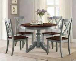 round dining table set for 4 room kitchen blue 5pc breakfast