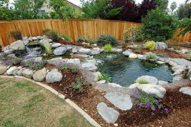 small pool with bog rock and small garden also green grass yard