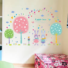 Kids Room Wall Stickers by Cartoon Rabbits In Woods Wall Stickers Trees Grass Cloud Birds