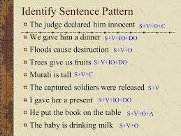 identify sentence pattern english grammar english grammar prepared by r rajendran m a m sc m ed ppt