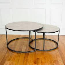 marble top nesting tables three mexican iron and travertine marble top circular nesting tables