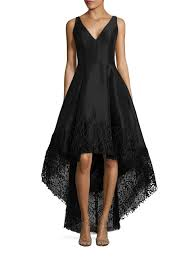 betsy u0026 adam lace trimmed hi lo gown in black lyst