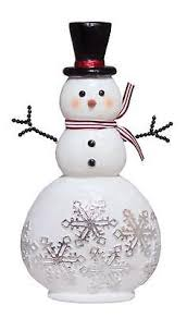 snowflake table top decorations figurines 117413 15 glittered snowman adorned with snowflakes