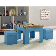 childrens folding table and chair set altra kids fabric table and ottoman set with owl pattern blue
