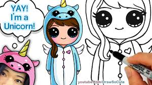 how to draw cute in unicorn onesie step by step easy youtube