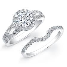 bridal ring set 18k white gold diamond pave split shank bridal ring set nk19006we w
